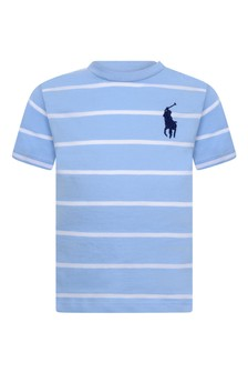 Baby Boys Blue Striped Cotton T-Shirt