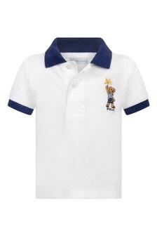 Baby Boys White Cotton Polo Top