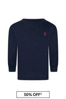 Baby Boys Navy Jersey Long Sleeve T-Shirt
