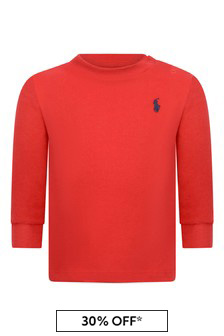 Baby Boys Red Jersey Long Sleeve T-Shirt