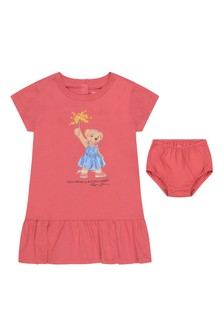 Baby Girls Red Cotton Bear Dress