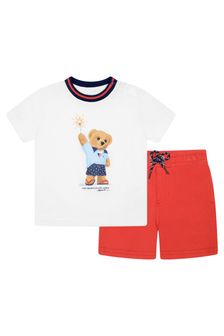 Baby Boys Red Cotton Shorts Set