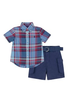 Baby Boys Blue Check Shirt & Shorts Set