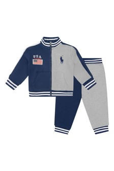 Baby Boys Navy & Grey Cotton Tracksuit