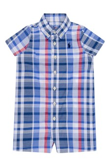 Baby Boys Blue & Red Check Cotton Shortie