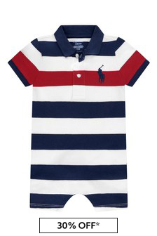 Baby Boys Navy Striped Cotton Shortie