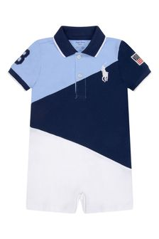 Baby Boys Navy Cotton Polo Shortie