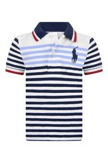 Baby Boys Navy Striped Cotton Polo Top