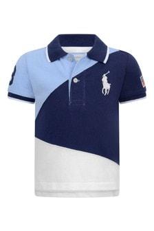 Baby Boys Navy Multi Cotton Polo Top