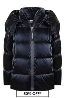Girls Black Down Padded Hooded Coat