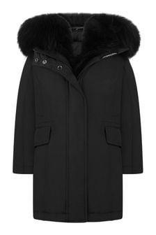 Girls Black Down Padded Coat