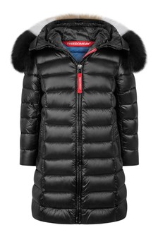 Girls Black Down Padded Coat With Faux Fur Trim Hood