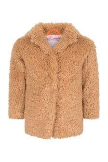 Girls Autumn Leaf Faux Fur Coat