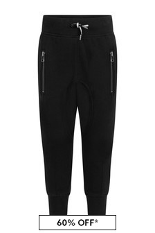 Black Boys Black Cotton Joggers