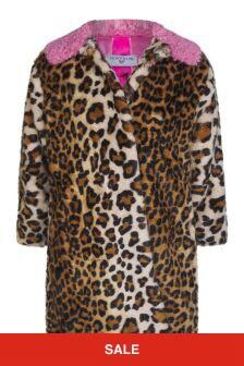 Girls Leopard Print Faux Fur Coat
