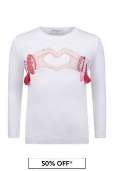 Girls Ivory Cotton Jersey Long Sleeve T-Shirt