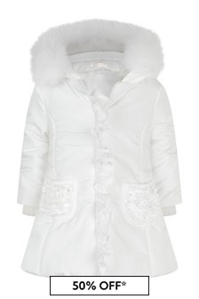 Girls Ivory Padded Coat With Faux Fur Trim