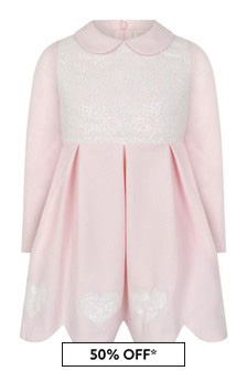 Bimbalo Girls Pink Sequin Hearts Dress