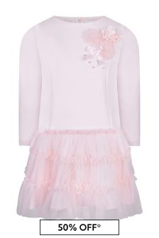فستان تول وردي بناتي