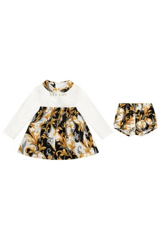 Baby Girls White, Black & Gold Cotton Dress With Knickers