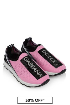 Girls Pink/Black Slip-On Trainers