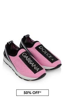 Pink/Black Girls Pink/Black Slip-On Trainers
