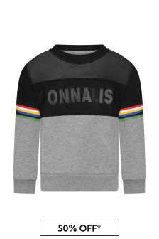 Girls Black/Grey Logo Sweater