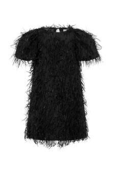 فستان أسود بفرنشات بناتي