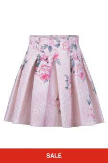 Girls Pink Rose Brocade Skirt