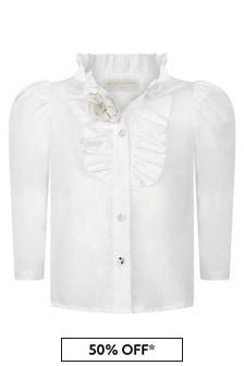 Monnalisa Girls Ivory Cotton Ruffle Shirt
