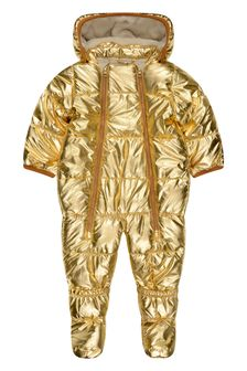 Molo Baby Girls Metallic Gold Snowsuit
