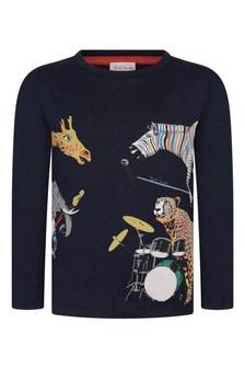 Navy Boys Navy Cotton Wild Animals T-Shirt