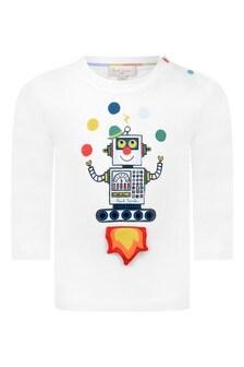 Baby Boys White Cotton Robot Print T-Shirt