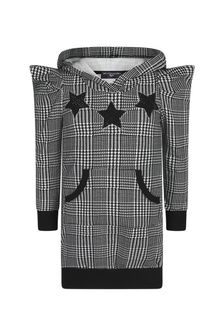 Monnalisa Girls Black Cotton Houndstooth Hooded Dress