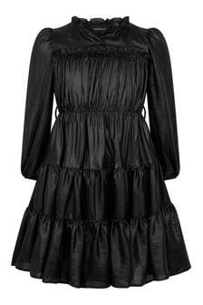 فستان بناتي جورجيت جلد صناعي أسود