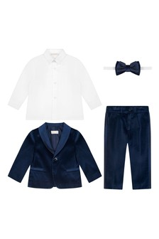 Baby Boys Navy Velvet Suit Set