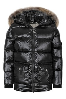 Girls Black Authentic Shiny Fur Coat
