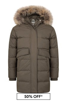 Girls Khaki Water Repellent Grenoble Fur Coat