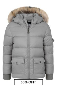 Kids Grey Down Padded Coat