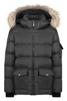 Kids Black Down Padded Coat