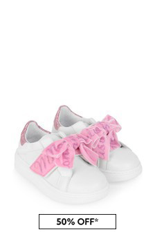 Girls Cream Bow Trainers
