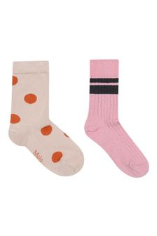 Girls Ivory/Pink Cotton Blend Socks Two Pack