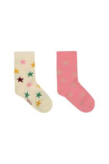 Girls Pink/Ivory Cotton Star Socks Two Pack