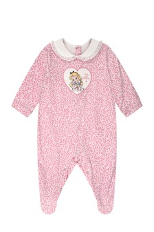 Girls Pink Cotton Jersey Babygrow