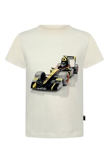 Boys Ivory Race Car Organic Cotton T-Shirt