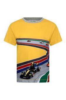 Boys Yellow Organic Cotton Full Speed Curve T-Shirt