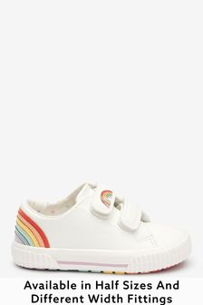 White Rainbow Standard Fit (F) Trainers (Younger)