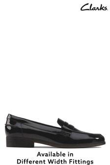 Clarks Black Pat Hamble Loafer Shoes