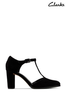 Clarks Black Kaylin T-Bar Shoes