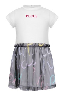 Baby Girls White Cotton & Black Tulle Dress